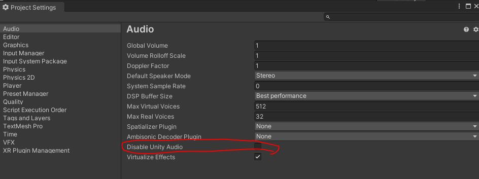 Disable Unity Audioのチェックボックス